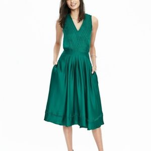 Satin Midi Vee Dress